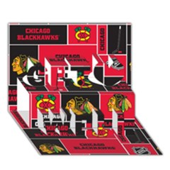 Chicago Blackhawks Nhl Block Fleece Fabric Get Well 3D Greeting Card (7x5)
