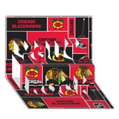 Chicago Blackhawks Nhl Block Fleece Fabric You Rock 3D Greeting Card (7x5)