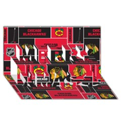 Chicago Blackhawks Nhl Block Fleece Fabric Merry Xmas 3D Greeting Card (8x4)