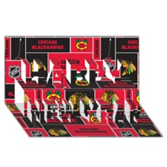 Chicago Blackhawks Nhl Block Fleece Fabric Happy New Year 3d Greeting Card (8x4)