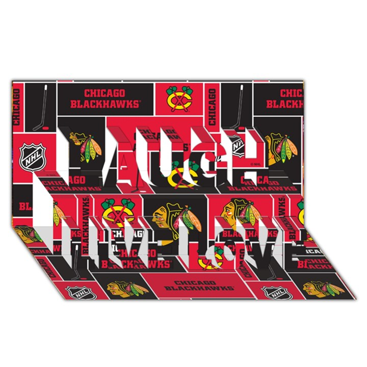 Chicago Blackhawks Nhl Block Fleece Fabric Laugh Live Love 3D Greeting Card (8x4)
