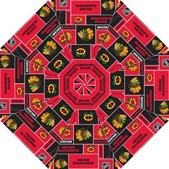 Chicago Blackhawks Nhl Block Fleece Fabric Hook Handle Umbrellas (Small)
