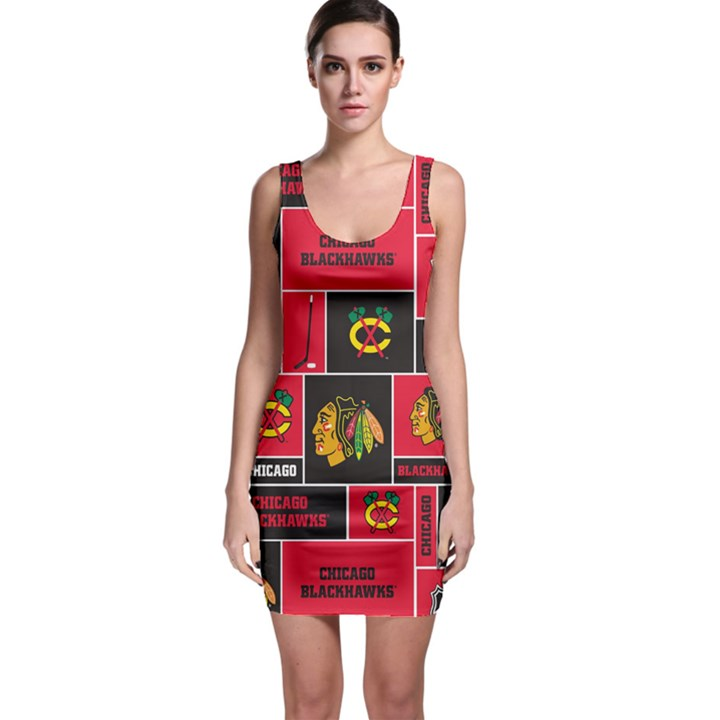 Chicago Blackhawks Nhl Block Fleece Fabric Sleeveless Bodycon Dress