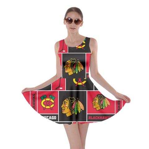 Chicago Blackhawks Nhl Block Fleece Fabric Skater Dress