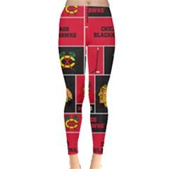 Chicago Blackhawks Nhl Block Fleece Fabric Leggings