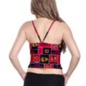 Chicago Blackhawks Nhl Block Fleece Fabric Spaghetti Strap Bra Top View2