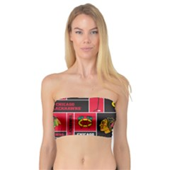 Chicago Blackhawks Nhl Block Fleece Fabric Bandeau Top