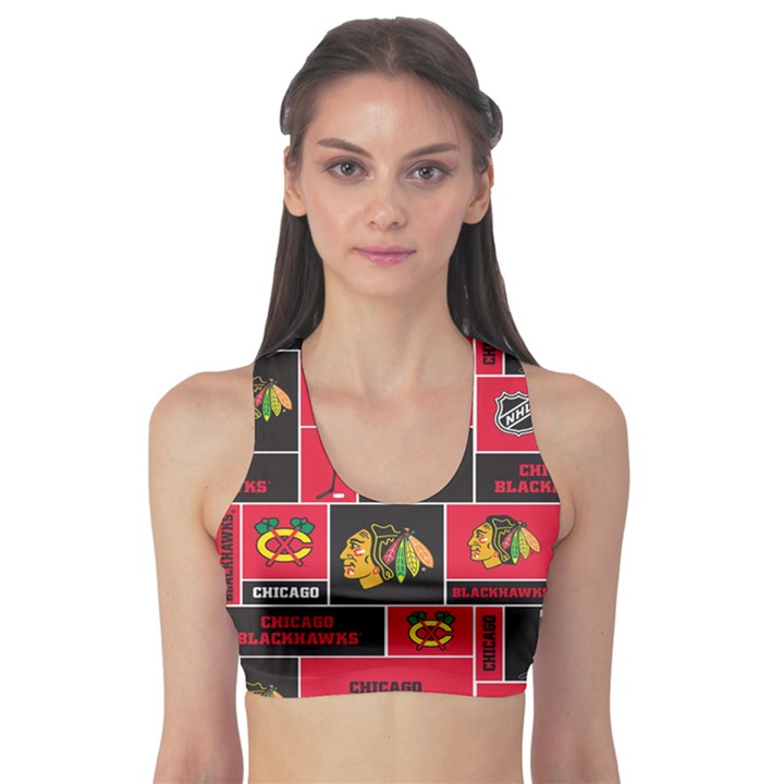 Chicago Blackhawks Nhl Block Fleece Fabric Sports Bra