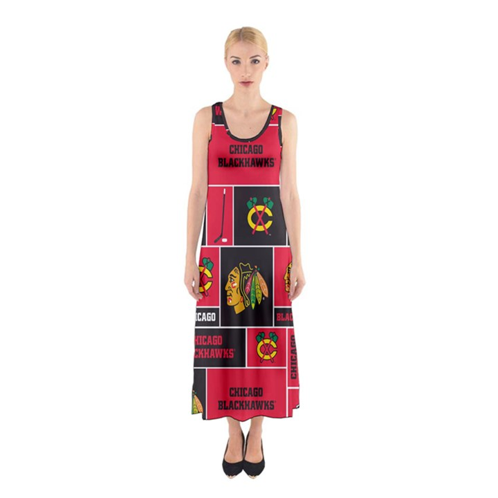 Chicago Blackhawks Nhl Block Fleece Fabric Sleeveless Maxi Dress