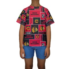 Chicago Blackhawks Nhl Block Fleece Fabric Kids  Short Sleeve Swimwear