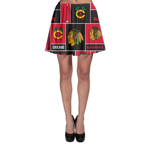Chicago Blackhawks Nhl Block Fleece Fabric Skater Skirt