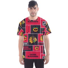 Chicago Blackhawks Nhl Block Fleece Fabric Men s Sport Mesh Tee