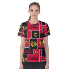 Chicago Blackhawks Nhl Block Fleece Fabric Women s Cotton Tee