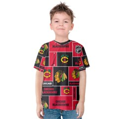 Chicago Blackhawks Nhl Block Fleece Fabric Kids  Cotton Tee