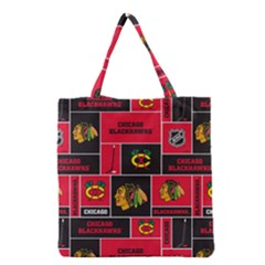 Chicago Blackhawks Nhl Block Fleece Fabric Grocery Tote Bag