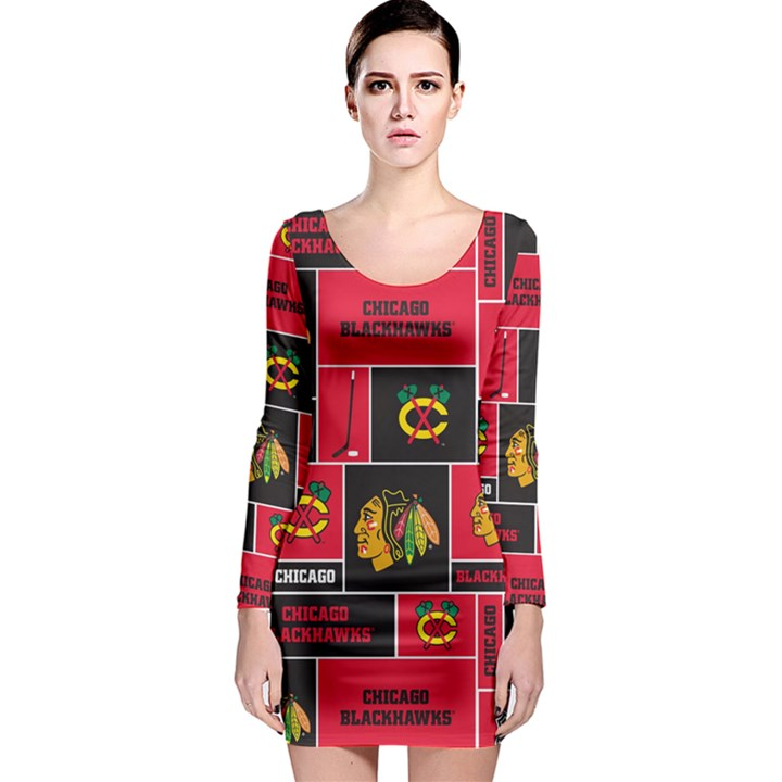 Chicago Blackhawks Nhl Block Fleece Fabric Long Sleeve Bodycon Dress