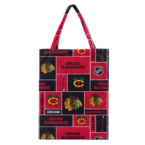 Chicago Blackhawks Nhl Block Fleece Fabric Classic Tote Bag