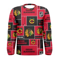 Chicago Blackhawks Nhl Block Fleece Fabric Men s Long Sleeve Tee