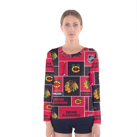 Chicago Blackhawks Nhl Block Fleece Fabric Women s Long Sleeve Tee