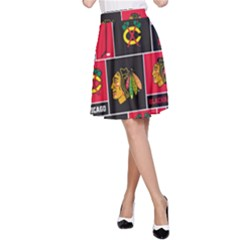 Chicago Blackhawks Nhl Block Fleece Fabric A Line Skirt
