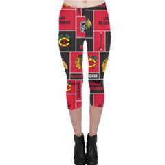 Chicago Blackhawks Nhl Block Fleece Fabric Capri Leggings