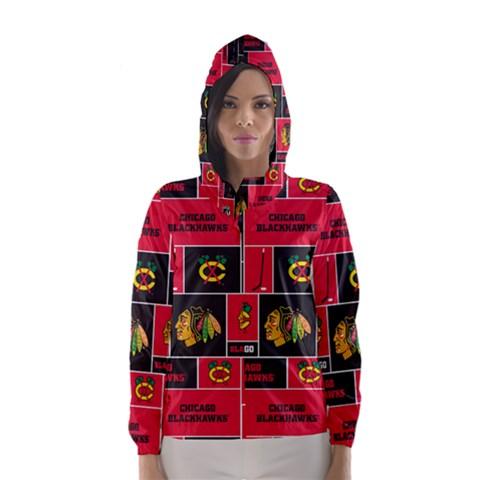 Chicago Blackhawks Nhl Block Fleece Fabric Hooded Wind Breaker (Women)