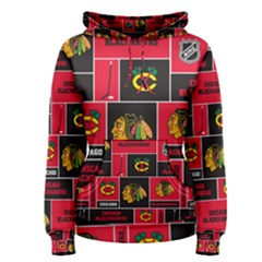 Chicago Blackhawks Nhl Block Fleece Fabric Women s Pullover Hoodie