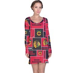 Chicago Blackhawks Nhl Block Fleece Fabric Long Sleeve Nightdress