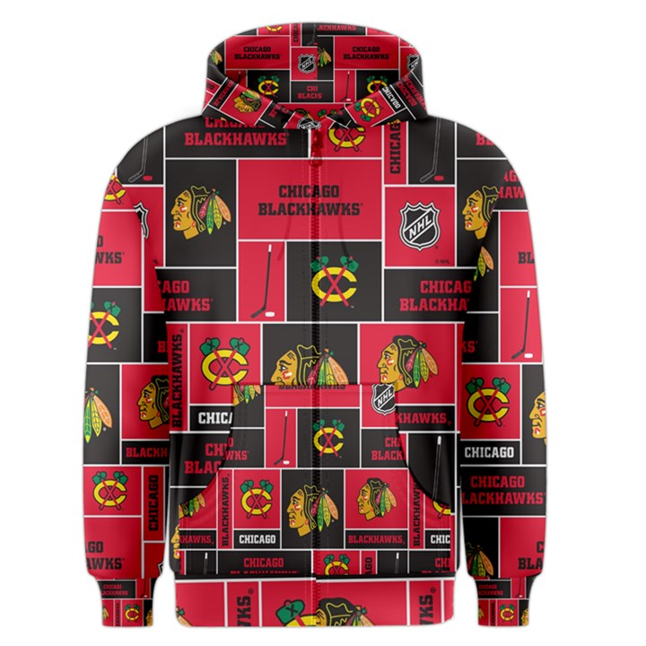 Chicago Blackhawks Nhl Block Fleece Fabric Men s Zipper Hoodie
