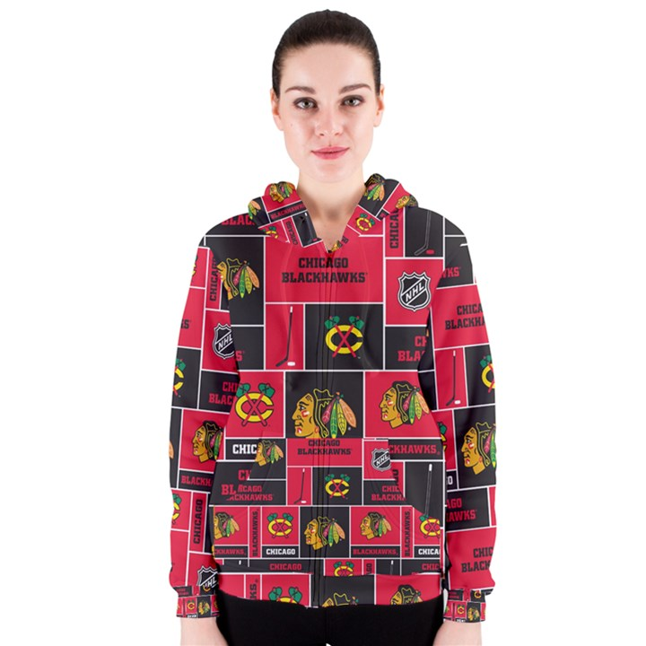 Chicago Blackhawks Nhl Block Fleece Fabric Women s Zipper Hoodie