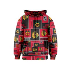 Chicago Blackhawks Nhl Block Fleece Fabric Kids  Zipper Hoodie