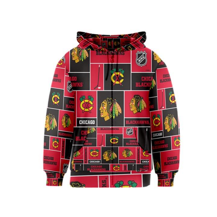 Chicago Blackhawks Nhl Block Fleece Fabric Kids  Zipper Hoodie