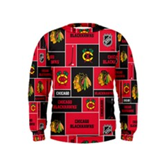 Chicago Blackhawks Nhl Block Fleece Fabric Kids  Sweatshirt