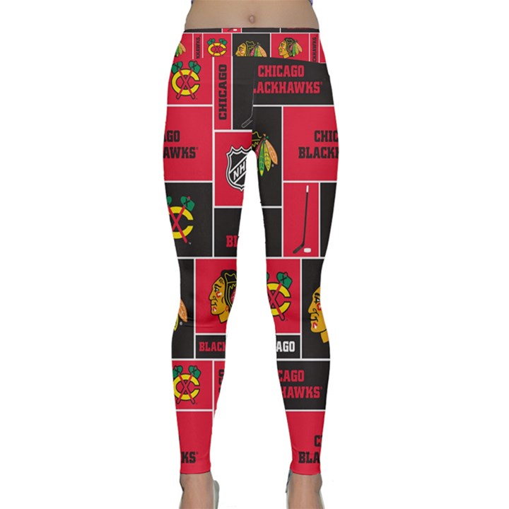 Chicago Blackhawks Nhl Block Fleece Fabric Yoga Leggings