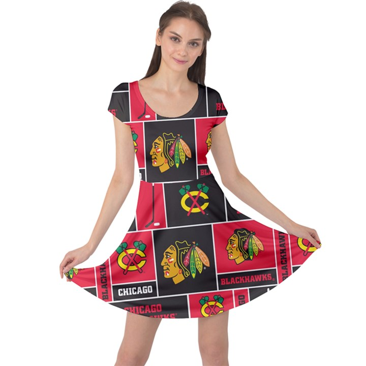 Chicago Blackhawks Nhl Block Fleece Fabric Cap Sleeve Dresses