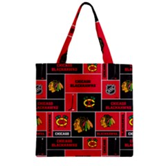 Chicago Blackhawks Nhl Block Fleece Fabric Zipper Grocery Tote Bag