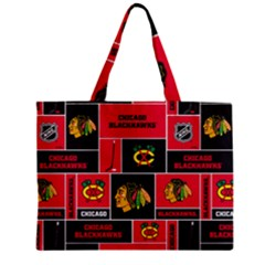 Chicago Blackhawks Nhl Block Fleece Fabric Zipper Mini Tote Bag