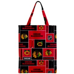 Chicago Blackhawks Nhl Block Fleece Fabric Zipper Classic Tote Bag