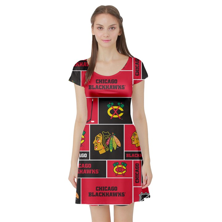 Chicago Blackhawks Nhl Block Fleece Fabric Short Sleeve Skater Dress
