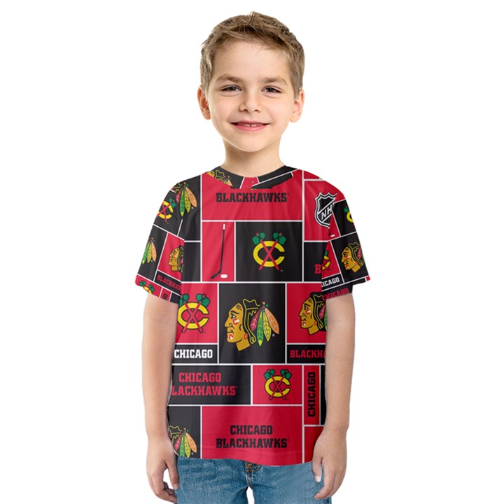 Chicago Blackhawks Nhl Block Fleece Fabric Kids  Sport Mesh Tee
