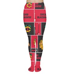 Chicago Blackhawks Nhl Block Fleece Fabric Women s Tights