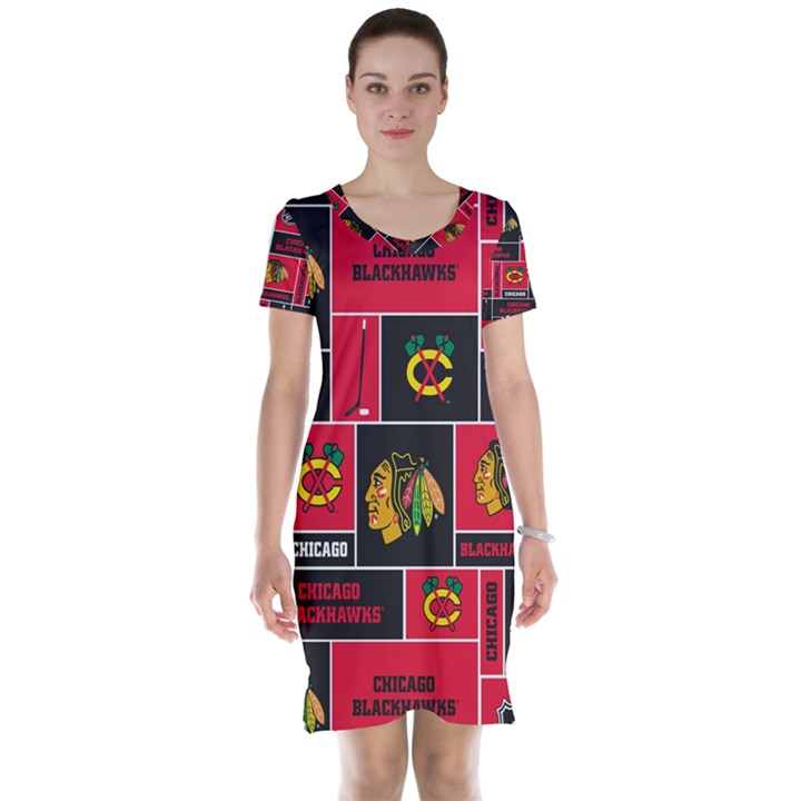Chicago Blackhawks Nhl Block Fleece Fabric Short Sleeve Nightdress