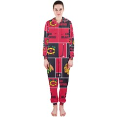 Chicago Blackhawks Nhl Block Fleece Fabric Hooded Jumpsuit (Ladies)