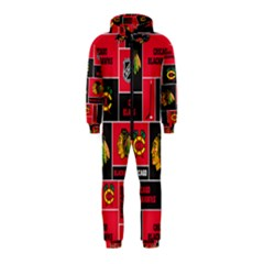 Chicago Blackhawks Nhl Block Fleece Fabric Hooded Jumpsuit (Kids)