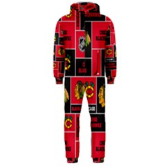Chicago Blackhawks Nhl Block Fleece Fabric Hooded Jumpsuit (Men)
