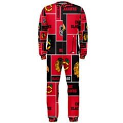 Chicago Blackhawks Nhl Block Fleece Fabric Onepiece Jumpsuit (men)