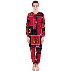 Chicago Blackhawks Nhl Block Fleece Fabric Onepiece Jumpsuit (ladies)