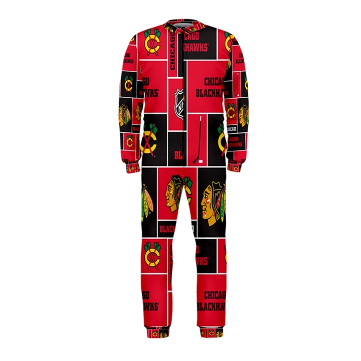 Chicago Blackhawks Nhl Block Fleece Fabric OnePiece Jumpsuit (Kids)