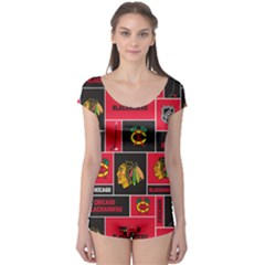 Chicago Blackhawks Nhl Block Fleece Fabric Boyleg Leotard