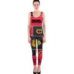 Chicago Blackhawks Nhl Block Fleece Fabric OnePiece Catsuit